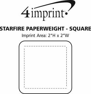 Imprint Area of Starfire Paperweight - Square
