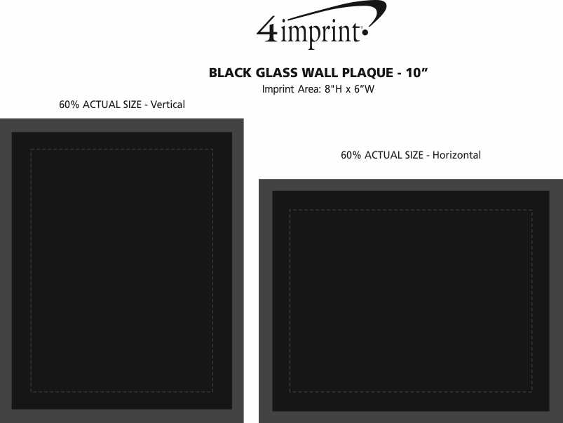 Imprint Area of Black Glass Wall Plaque - 10""
