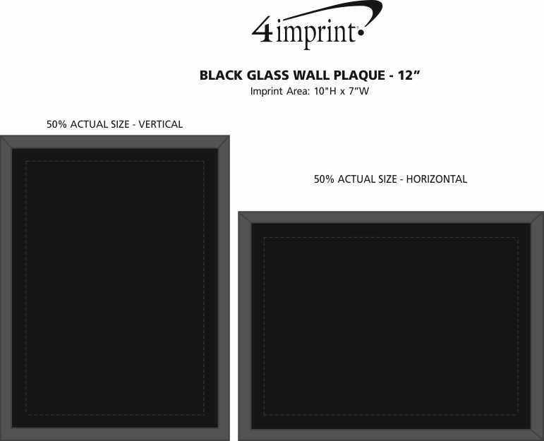 Imprint Area of Black Glass Wall Plaque - 12""