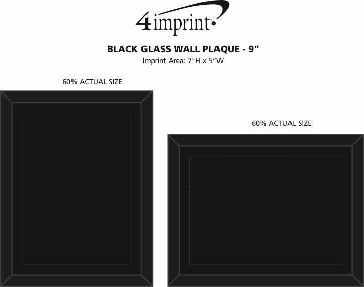 """Imprint Area of Black Glass Wall Plaque - 9"""""""