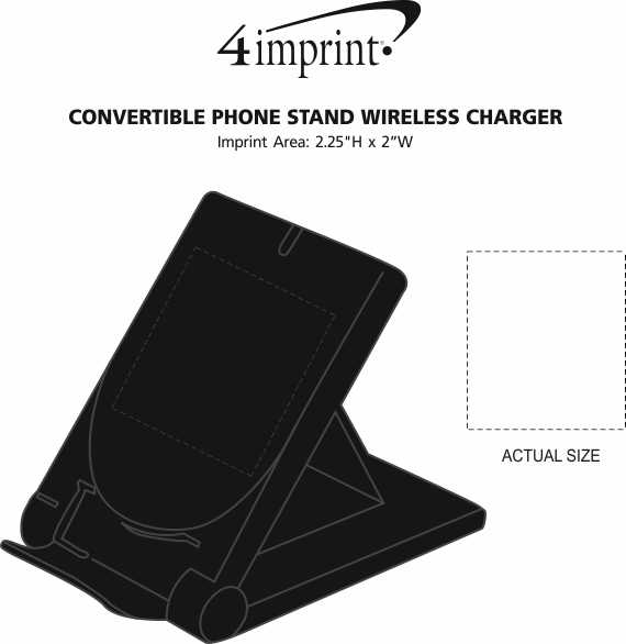 Imprint Area of Convertible Phone Stand Wireless Charger