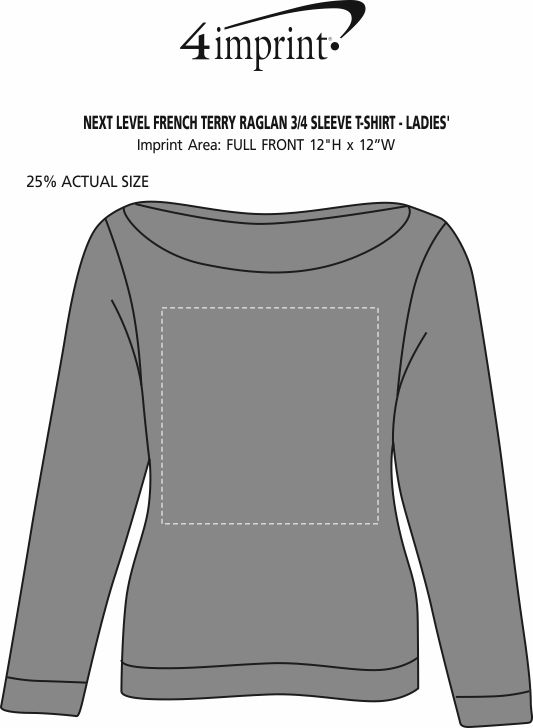 Imprint Area of Next Level French Terry Raglan 3/4 Sleeve T-Shirt - Ladies'