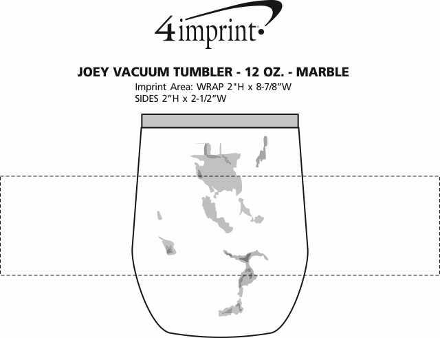 Imprint Area of Joey Vacuum Tumbler - 12 oz. - Marble