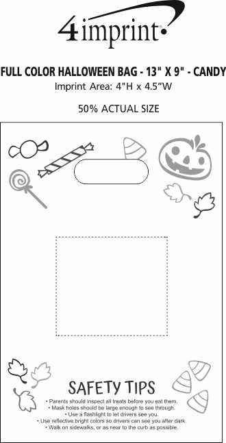 """Imprint Area of Full Color Halloween Bag - 13"""" x 9"""" - Candy"""