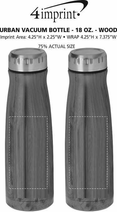 Imprint Area of Urban Vacuum Bottle - 18 oz. - Wood