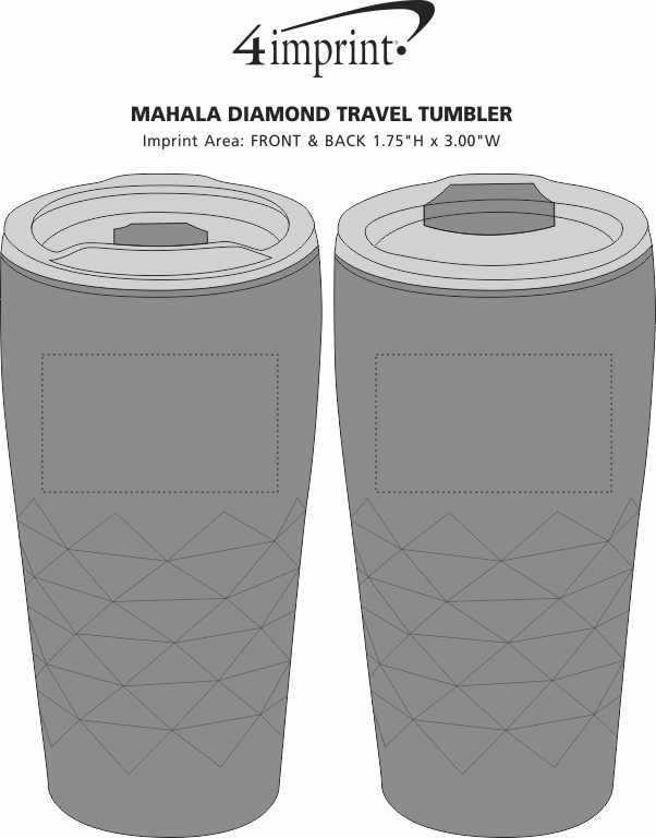 Imprint Area of Mahala Diamond Travel Tumbler - 18 oz.