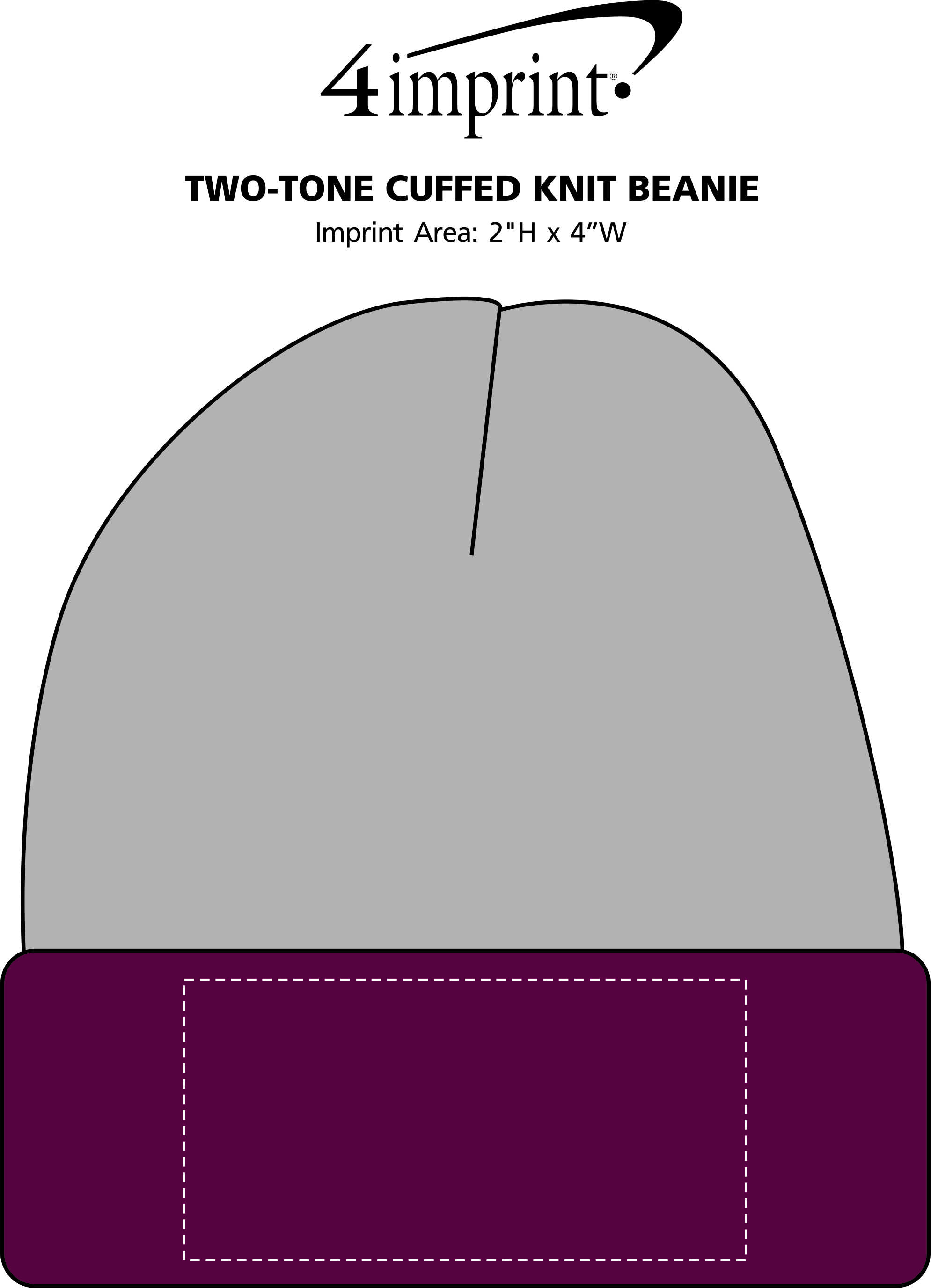 Imprint Area of Two-Tone Cuffed Knit Beanie