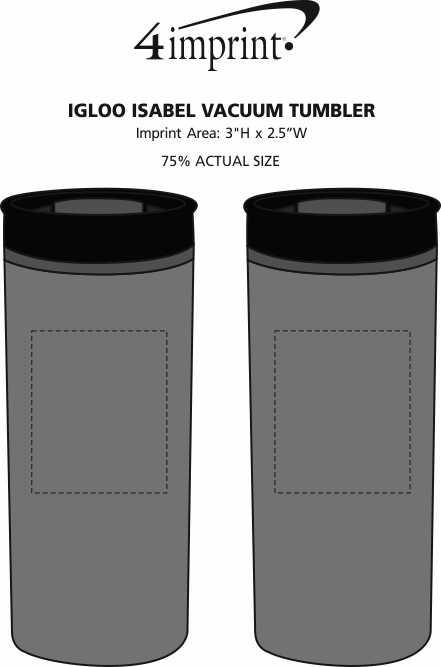 Imprint Area of Igloo Isabel Vacuum Tumbler - 16 oz.
