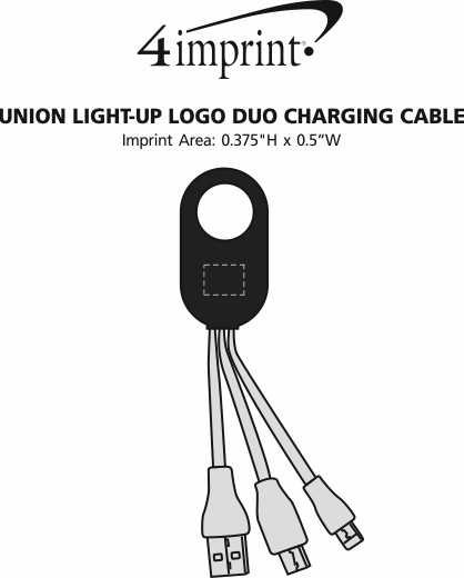 Imprint Area of Union Light-Up Logo Duo Charging Cable