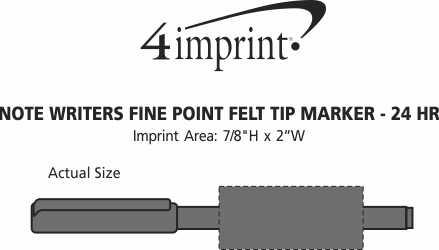 Imprint Area of Note Writers Fine Point Felt Tip Pen Marker - 24 hr