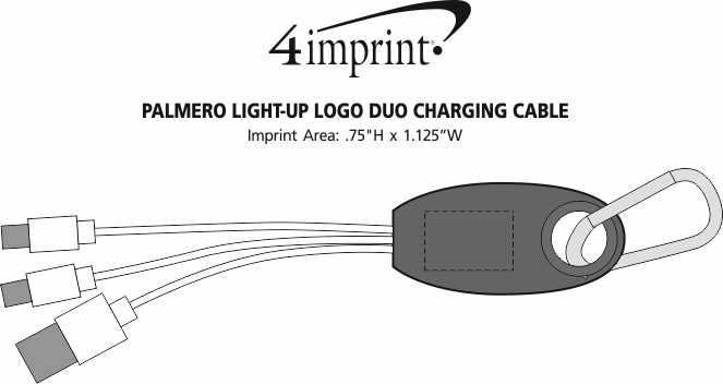 Imprint Area of Palmero Light-Up Logo Duo Charging Cable