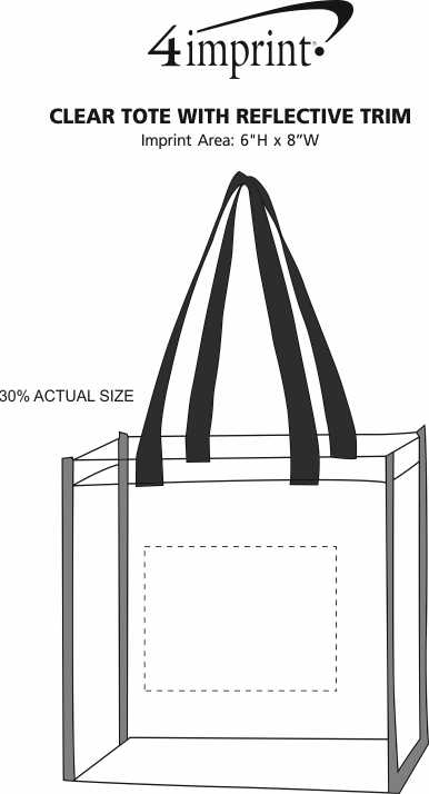 Imprint Area of Clear Tote with Reflective Trim