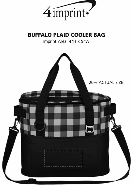 Imprint Area of Buffalo Plaid Cooler Bag