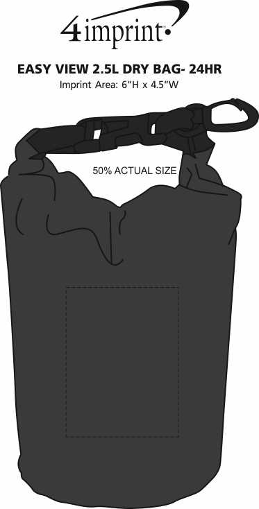 Imprint Area of Easy View 2.5L Dry Bag - 24 hr