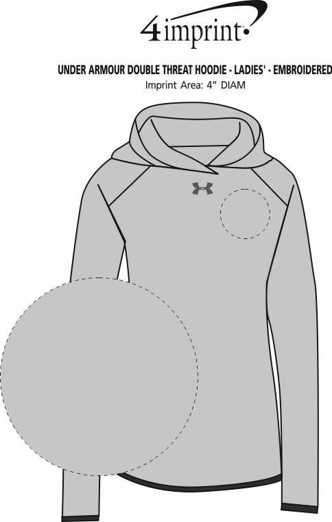 Imprint Area of Under Armour Double Threat Hoodie - Ladies' - Embroidered