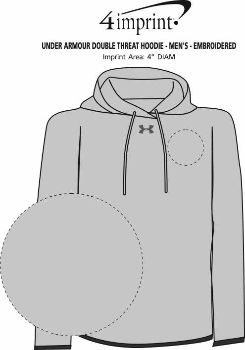 Imprint Area of Under Armour Double Threat Hoodie - Men's - Embroidered