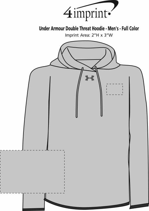 Imprint Area of Under Armour Double Threat Hoodie - Men's - Full Color