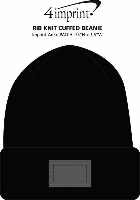 Imprint Area of Rib Knit Cuffed Beanie