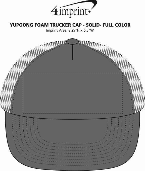 Imprint Area of Yupoong Foam Trucker Cap - Solid - Full Color