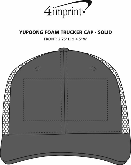Imprint Area of Yupoong Foam Trucker Cap - Solid