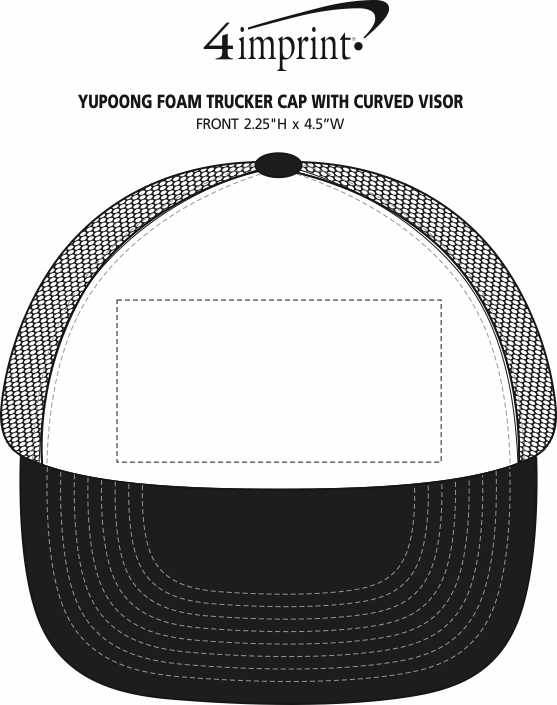 Imprint Area of Yupoong Foam Trucker Cap with Curved Visor