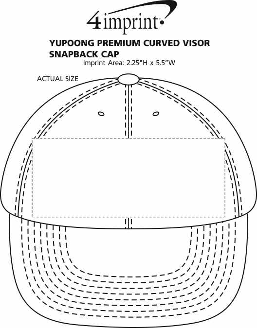 Imprint Area of Yupoong Premium Curved Visor Snapback Cap