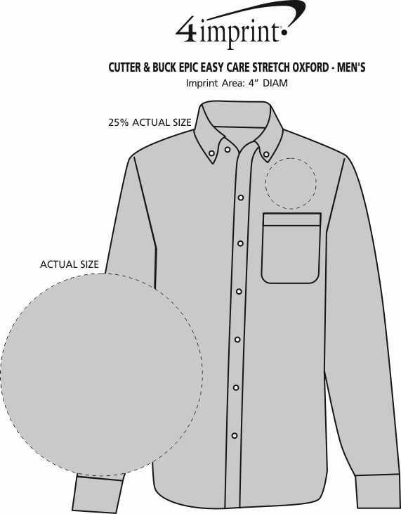 Imprint Area of Cutter & Buck Epic Easy Care Stretch Oxford - Men's