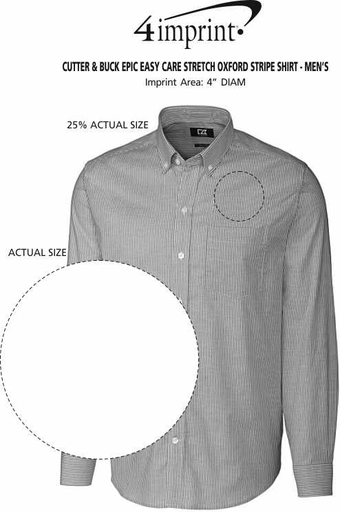 Imprint Area of Cutter & Buck Epic Easy Care Stretch Oxford Stripe Shirt - Men's