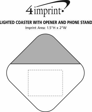 Imprint Area of Lighted Coaster with Opener and Phone Stand - 24 hr