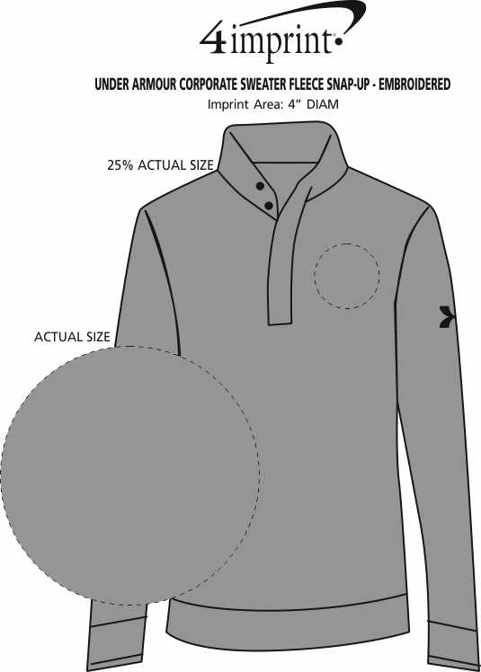 Imprint Area of Under Armour Corporate Sweater Fleece Snap-Up - Embroidered