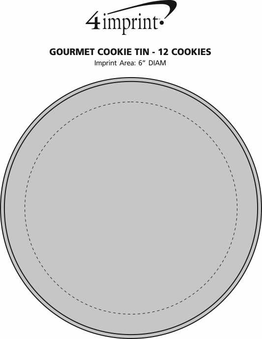 Imprint Area of Gourmet Cookie Tin - 12 Cookies