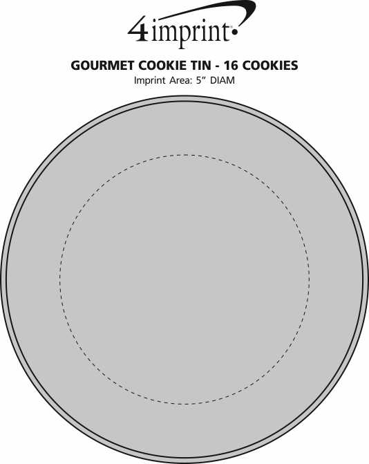 Imprint Area of Gourmet Cookie Tin - 16 Cookies