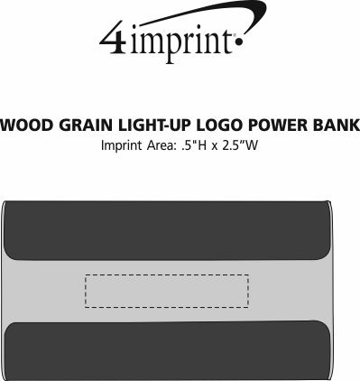 Imprint Area of Wood Grain Light-Up Logo Power Bank - 6000 mAh