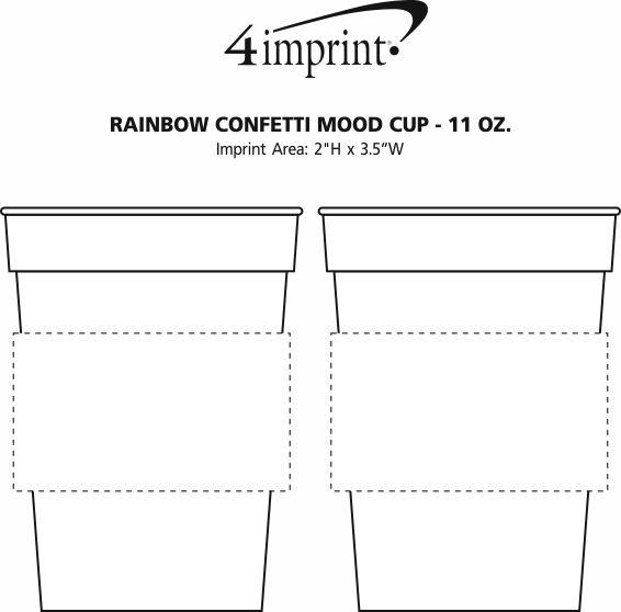 Imprint Area of Rainbow Confetti Mood Cup - 11 oz.