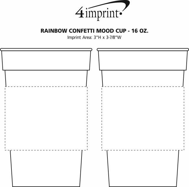 Imprint Area of Rainbow Confetti Mood Cup - 16 oz.