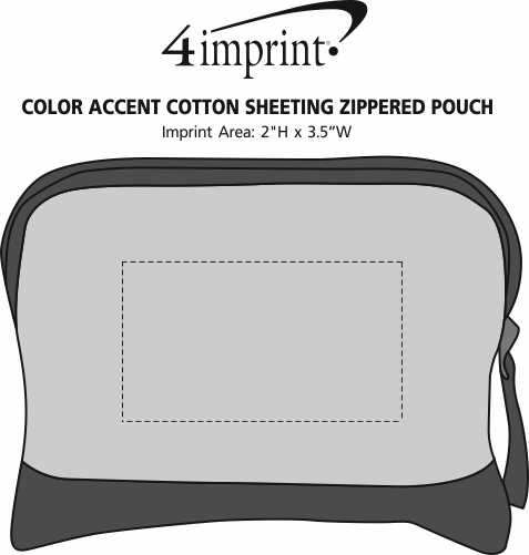 Imprint Area of Color Accent Cotton Sheeting Zippered Pouch