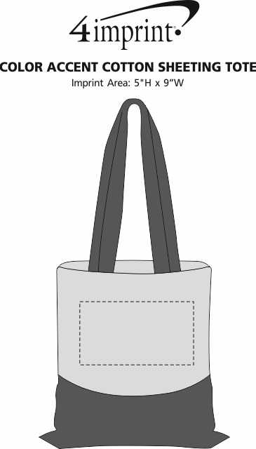 Imprint Area of Color Accent Cotton Sheeting Tote