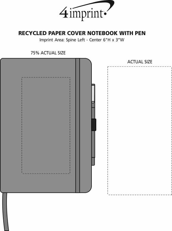 Imprint Area of Recycled Paper Cover Notebook with Pen