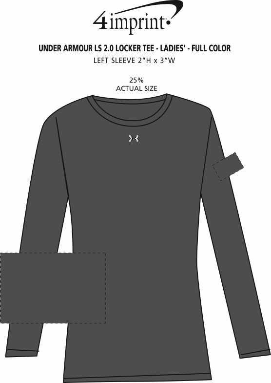 Imprint Area of Under Armour LS 2.0 Locker Tee - Ladies' - Full Color