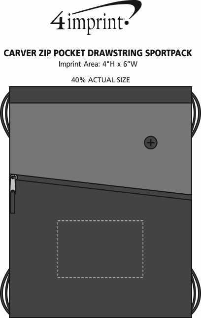 Imprint Area of Carver Zip Pocket Drawstring Sportpack