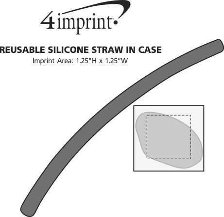Imprint Area of Reusable Silicone Straw in Case