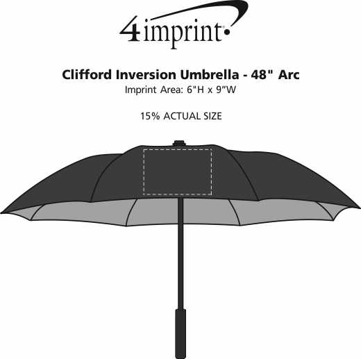 "Imprint Area of Clifford Inversion Umbrella - 48"" Arc"