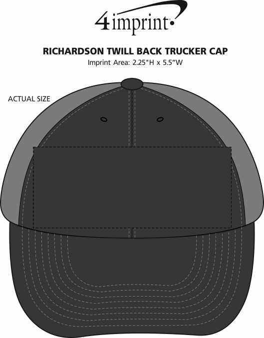 Imprint Area of Richardson Twill Back Trucker Cap