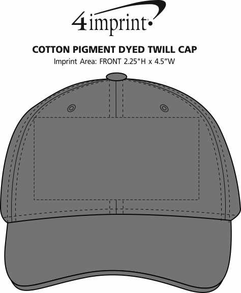 Imprint Area of Cotton Pigment Dyed Twill Cap