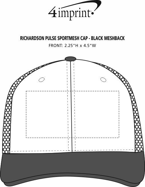 Imprint Area of Richardson Pulse Sportmesh Cap - Black Meshback