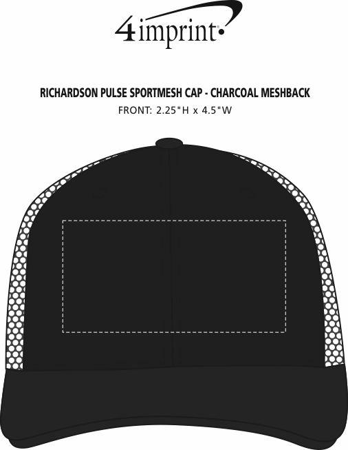 Imprint Area of Richardson Pulse Sportmesh Cap - Charcoal Meshback