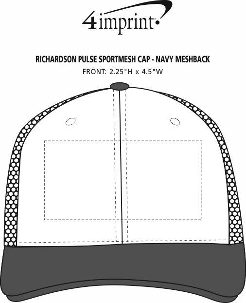 Imprint Area of Richardson Pulse Sportmesh Cap - Navy Meshback