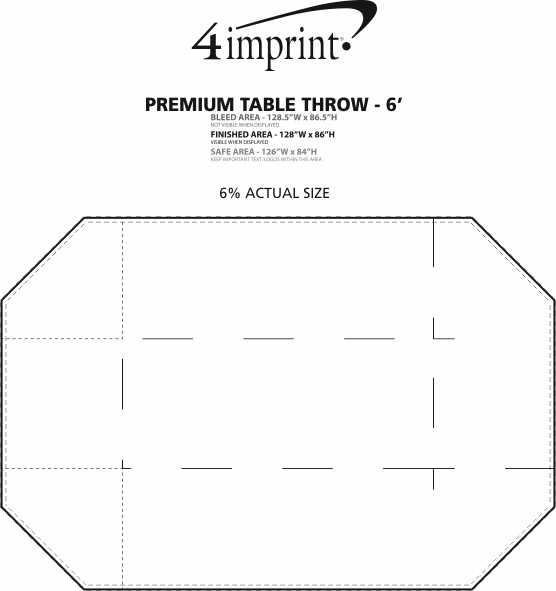 Imprint Area of Hemmed Premium Table Throw - 6'