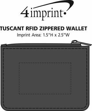 Imprint Area of Tuscany RFID Zippered Wallet