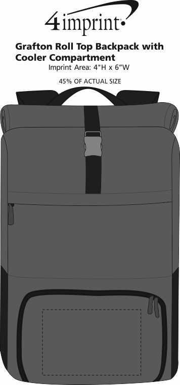 Imprint Area of Grafton Roll Top Backpack with Cooler Compartment